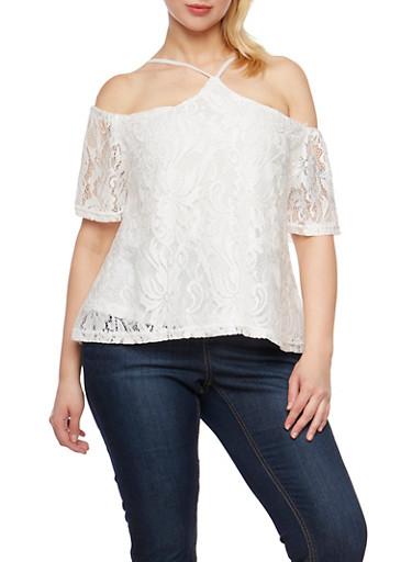 Plus Size Lace Off the Shoulder Halter Top,WHITE,large