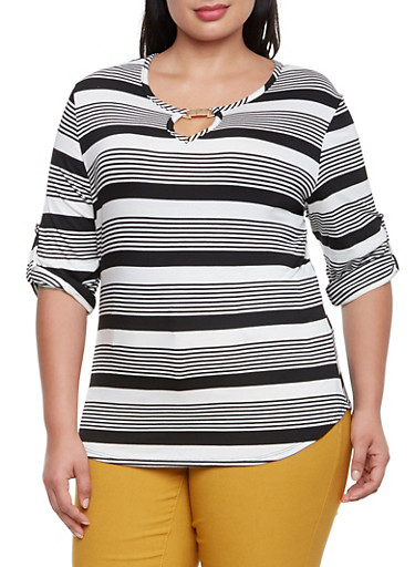 Plus Size Mixed Stripe Top with Keyhole Cutout,BLACK,large