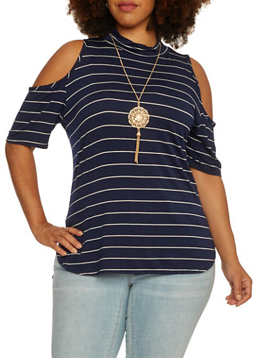 Plus Size Striped Cold-Shoulder Top with Necklace,NAVY,large