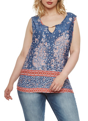 Plus Size Paisley Tank Top with Metallic Bar at Scoop Neck,CORAL,large