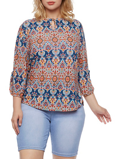 Plus Size Top with Ornate Print,NAVY,large
