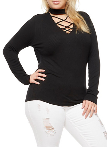 Plus Size Rib Knit Caged Choker Top,BLACK,large