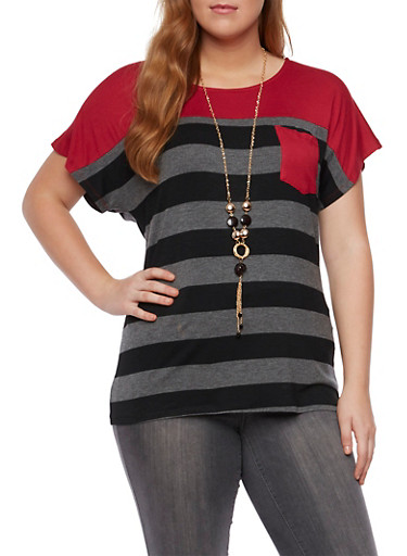 Plus Size Striped Pocket Tee with Necklace,CHARCOAL,large