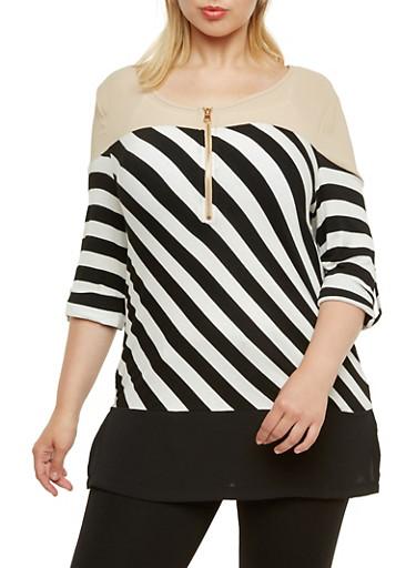 Plus Size Striped Tunic Top with Zipper Detail,KHAKI,large