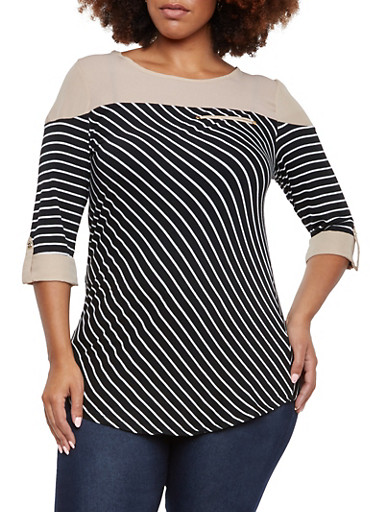 Plus Size Striped Top with Contrast Detail,KHAKI,large