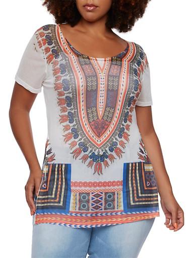 Plus Size Sheer Short Sleeve Tunic Top with Dashiki Print,WHITE,large