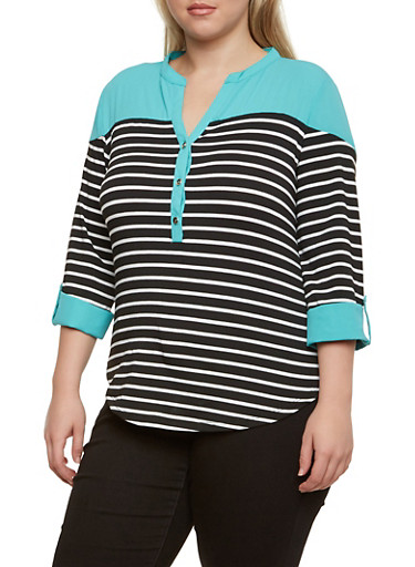 Plus Size Striped Top with Fixed Cuffs and Button Front,TEAL,large