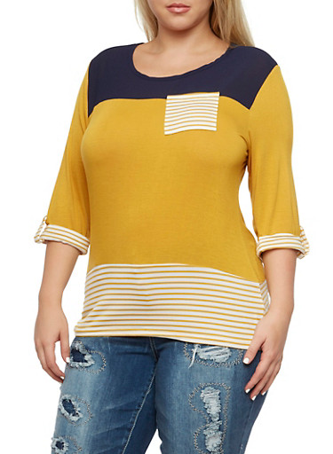 Plus Size Striped Top with High-Low Hem,MUSTARD,large