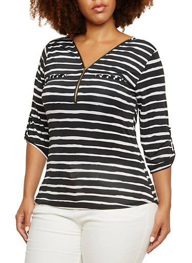 Plus Size Striped Zipper Neck Top,BLACK,large