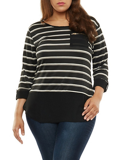 Plus Size Striped Three Quarter Sleeve Top,BLACK,large