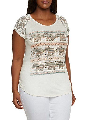 Plus Size Graphic Top with Lace Raglan Sleeves,NATURAL,large