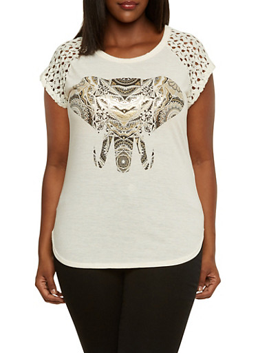 Plus Size Graphic Top with Crochet Sleeves,NATURAL,large