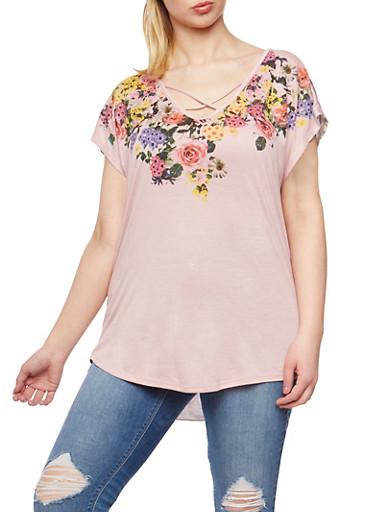Plus Size Caged Floral Print Top,MAUVE,large