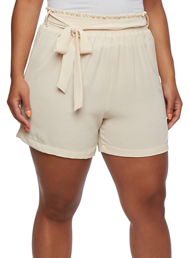 Plus Size High-Waisted Shorts with Smocked Waist and Self-Tie Belt,SAND,large