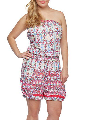Plus Size Printed Romper with Elastic Cuffs,FUCHSIA,large