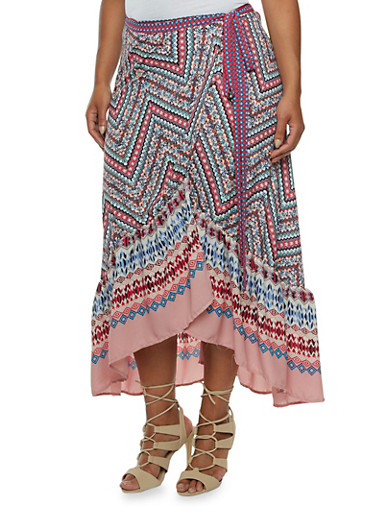 Plus Size Printed Wrap Skirt with Ruffle Hem,BLUSH,large