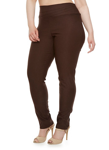 Plus Size Skinny Pants with Stitch Detail,BROWN,large