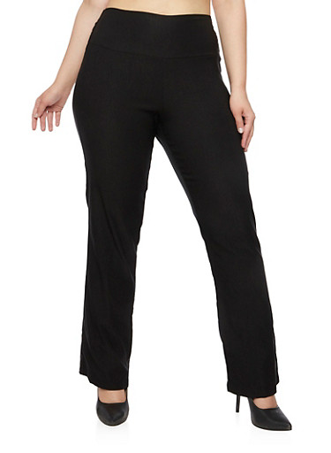 Plus Size High Waisted Stretch Pants,BLACK,large
