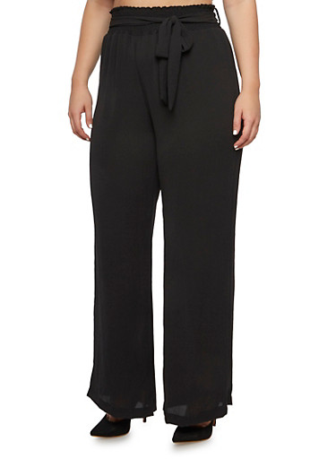 Plus Size Crepe Pants with Smocked Waist,BLACK,large
