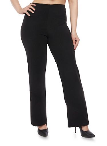 Plus Size Knit Bootcut Pants,BLACK,large
