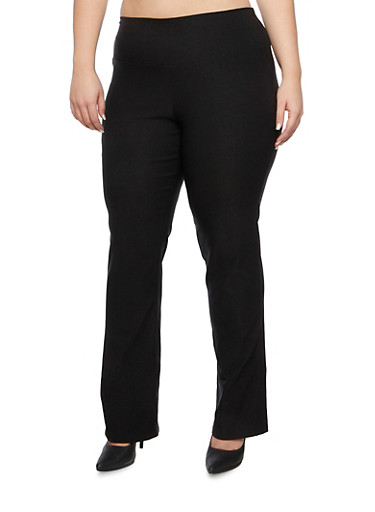 Plus Size High Waisted Pants in Twill,BLACK,large