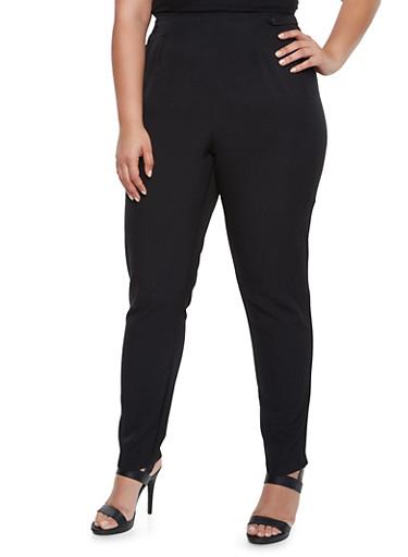 Plus Size Pleated Pants,BLACK,large