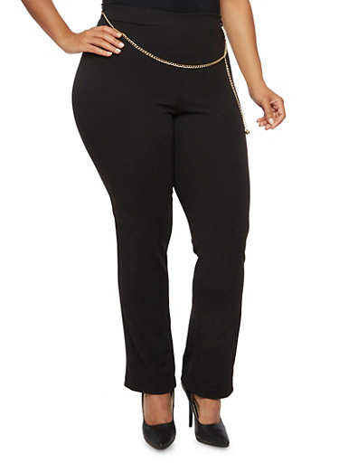 Plus Size Stretch Pants with Chain Belt,BLACK,large