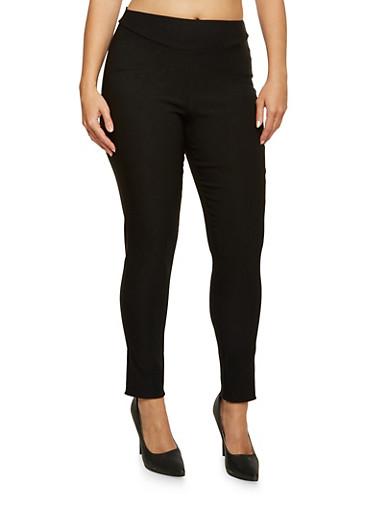 Plus Size Stretch Skinny Pants,BLACK,large
