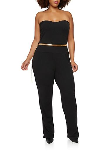 Plus Size Strapless Jumpsuit with Chain Belt,BLACK,large