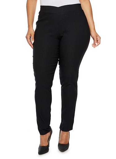 Plus Size Stretch Pants with Envelope Waist,BLACK,large
