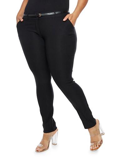 Plus Size Belted Skinny Dress Pants,BLACK,large