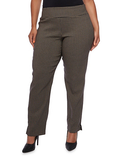Plus Size Pull-On Pants in Geo Print,BLACK/TAUPE,large