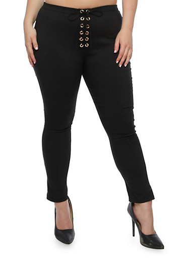 Plus Size Solid Lace Up Pants,BLACK,large