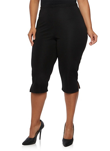 Plus Size High Waisted Capris,BLACK,large