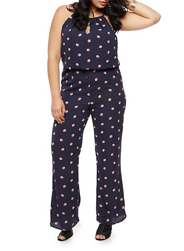 Plus Size Polka Dot Crepe Knit Jumpsuit,NAVY,large