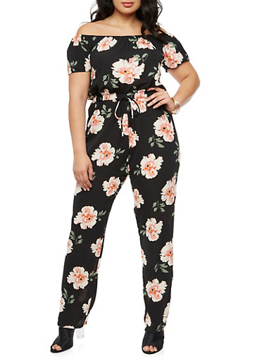 Plus Size Floral Off the Shoulder Jumpsuit,BLACK,large