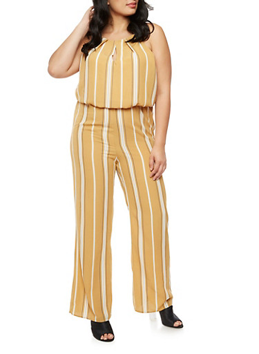 Plus Size Striped Crepe Knit Jumpsuit,MUSTARD,large