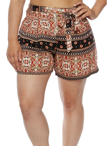 Plus Size Printed Shorts with Tie Waist,BLACK,large