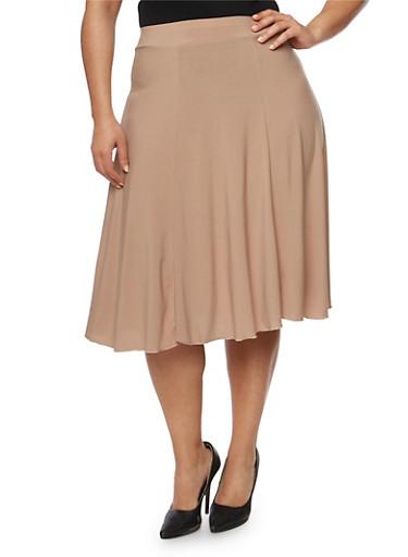Plus Size Solid A Line Midi Skirt,MOCHA,large