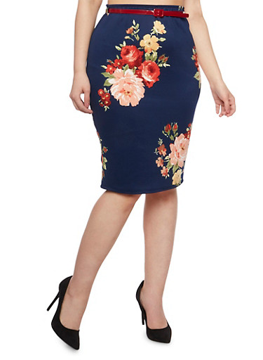 Plus Size Belted Floral Pencil Skirt,NAVY,large
