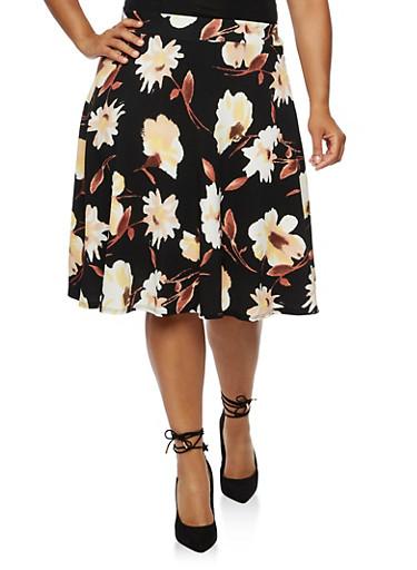 Plus Size Floral Crepe Knit Circle Skirt,BLACK/CORAL,large