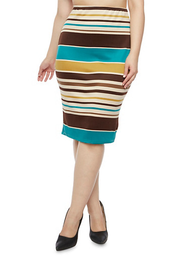 Plus Size Striped Pencil Skirt,JADE,large