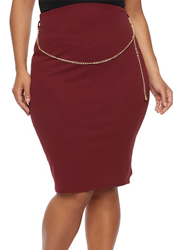 Plus Size Pencil Skirt with Chain Accent,WINE,large