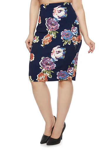 Plus Size Pencil Skirt in Floral Print,NAVY/LILAC,large