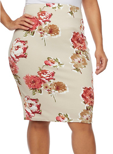 Plus Size Pencil Skirt in Floral Print,BLUSH/MAUVE,large