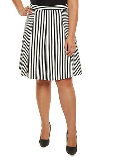 Plus Size Striped Midi Skirt,BLACK,large