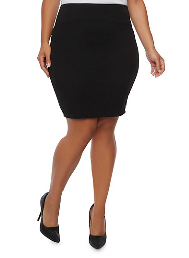 Pencil Skirt in Stretch Knit,BLACK,large