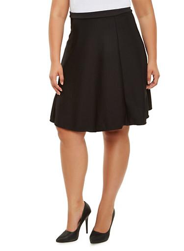 Plus Size Textured Knit Midi Skirt,BLACK,large