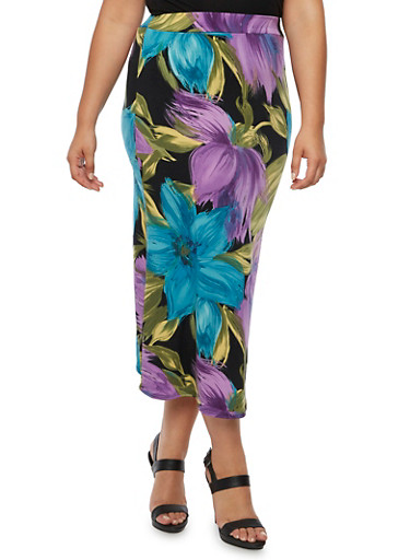 Plus Size Floral Print Midi Skirt,TEAL,large