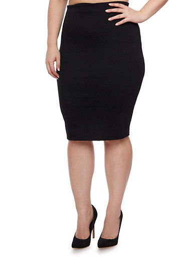 Plus Size Bodycon Midi Skirt,BLACK,large